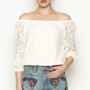 Cupcakes & Cashmere Lace Off The Shoulder Crop Top
